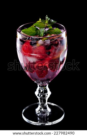 Cocktail isolated on a black background - stock photo