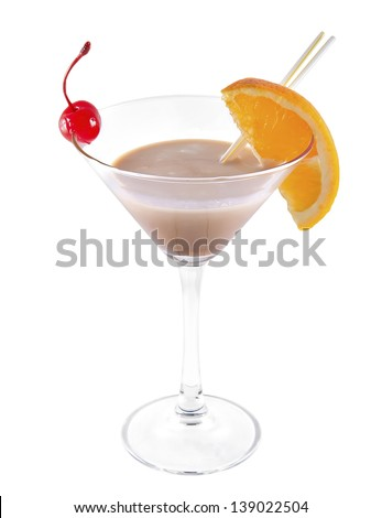 Cocktail isolated on white - stock photo