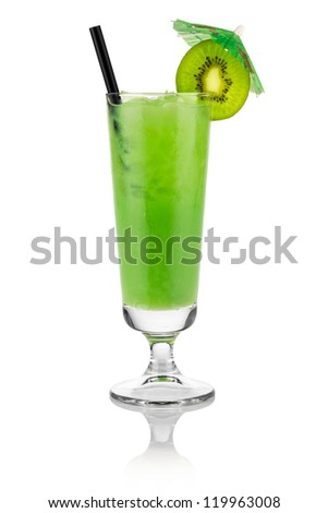 Cocktail kiwi in front of white background - stock photo