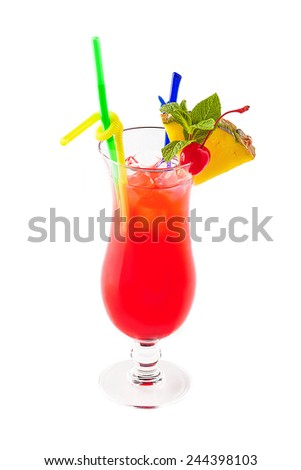 Cocktail Mai Tai on a white isolated background