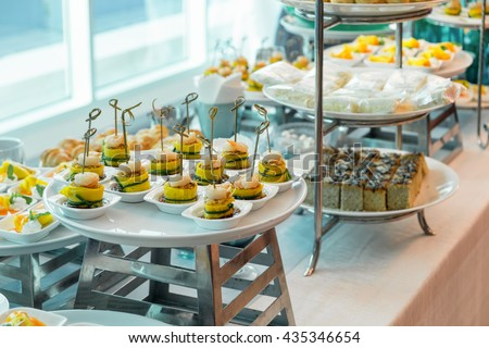 Cocktail meeting party with variety dessert and food elegant decorated - stock photo