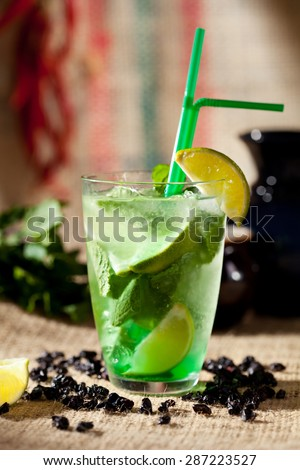 Cocktail Mojito with Lime and Mint