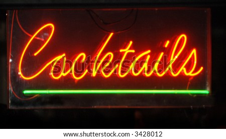 Cocktail Neon Sign - stock photo