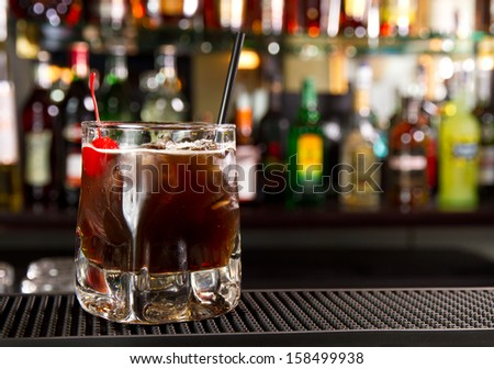 Cocktail on a bar counter - stock photo