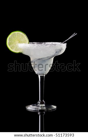 cocktail on black background - stock photo