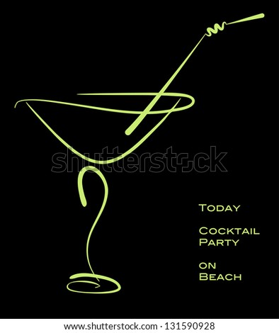 Cocktail party. Green silhouette of alcohol cocktail in glass with straw on black. Raster illustration. Vector file included in portfolio - stock photo