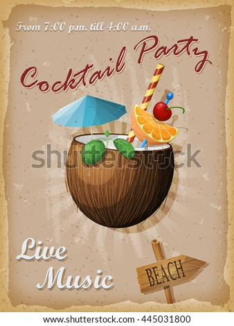 Cocktail party vintage poster. Coconut cocktail. illustration. - stock photo