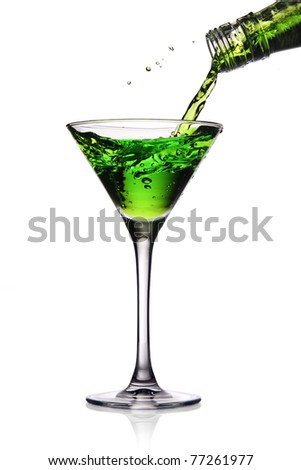 Cocktail poured into martini glass