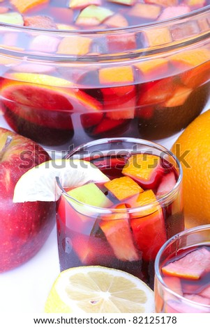 Cocktail sangria in glass bowl, closeup - stock photo