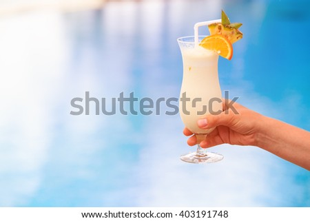 cocktail served on luxury tropical resort