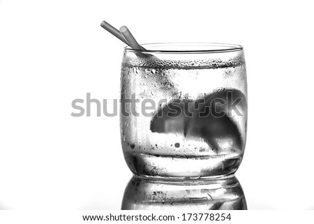 cocktail served  with a lime - stock photo