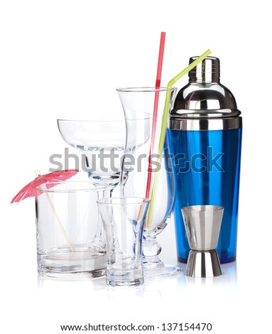Cocktail shaker and glasses. Isolated on white background - stock photo