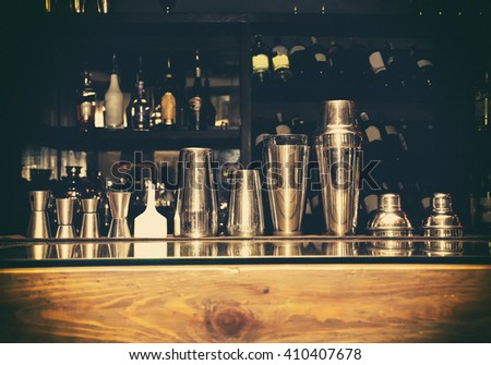 cocktail shaker, bartender tools, a set of equipment, bar, retro - stock photo