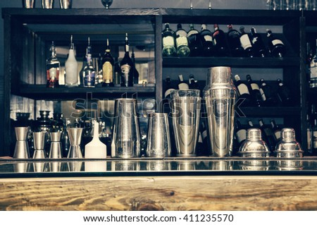 cocktail shaker, bartender tools, a set of equipment, bar, retro