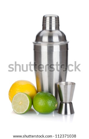 Cocktail shaker with measuring cup and citruses. Isolated on white background - stock photo