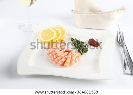 Cocktail shrimps with sauce - stock photo