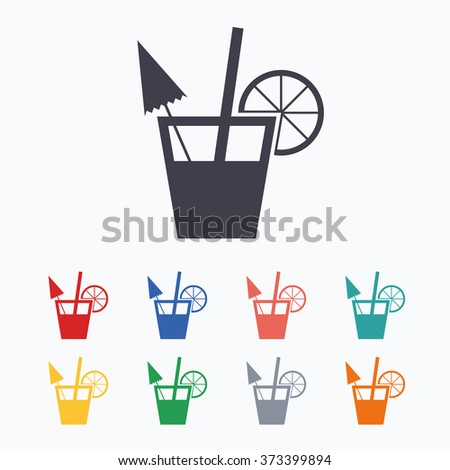 Cocktail sign. Alcoholic drink symbol. Colored flat icons on white background. - stock photo