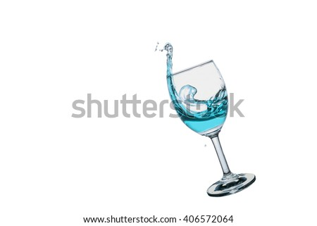 Cocktail  splash into wine glass isolated on white background. - stock photo