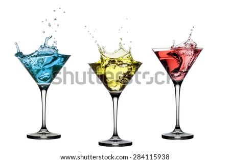 cocktail splash set isolated on white background  - stock photo