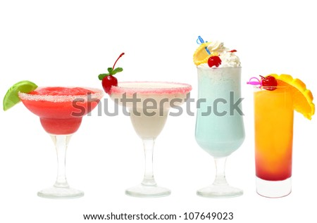 Cocktail - summer party set isolated (strawberry margarita, daiquiri, blue lagoon, Tequila Sunrise)