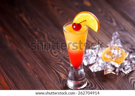 Cocktail Tequila Sunrise. Ice. - stock photo