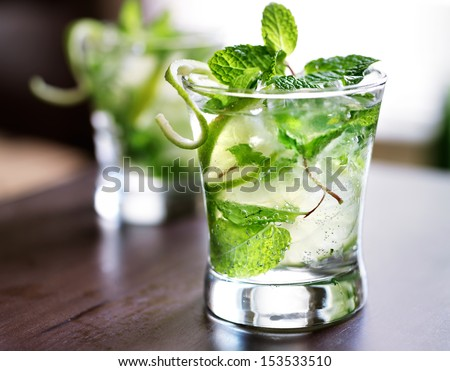 cocktail - two cold mojitos - stock photo