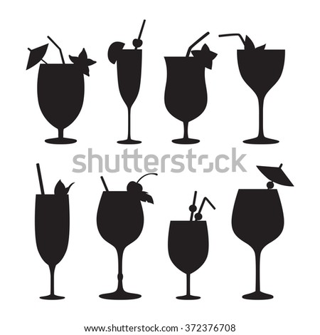 Cocktail vector silhouettes. Black icons on white background. Raster. - stock photo