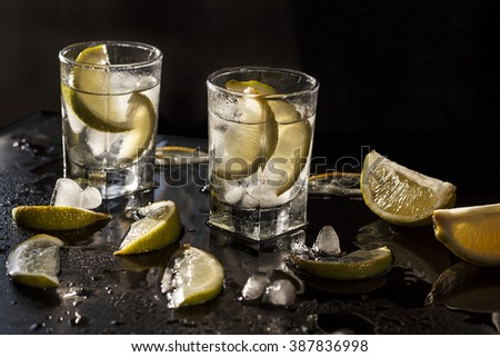 Cocktail vodka or gin with ice - stock photo