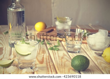 Cocktail vodka or gin with ice vintage. Closeup - stock photo
