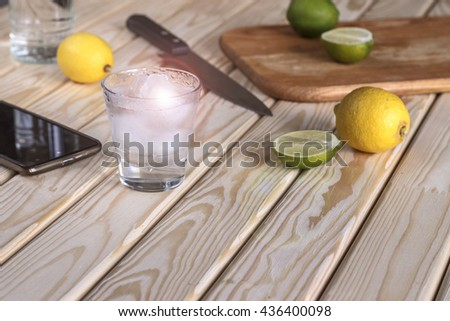 Cocktail vodka or gin with ice vintage, tequila. - stock photo