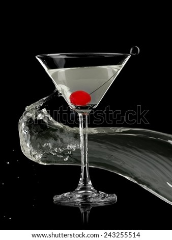 Cocktail with a cherry splash on black background - stock photo