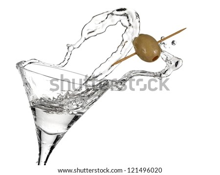 Cocktail with a olive up - stock photo