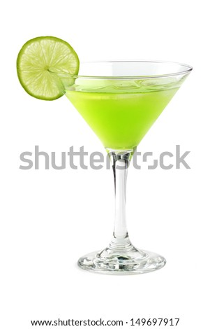 cocktail with a slice of lime in a martini glass