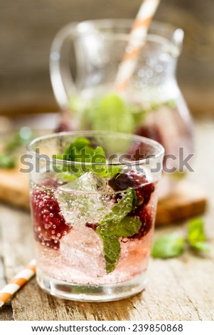 Cocktail with blackberry and fresh mint - stock photo