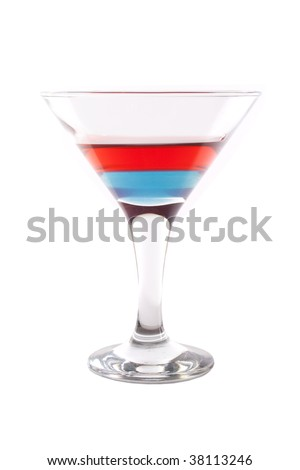 cocktail with blue and red layers isolated on white background