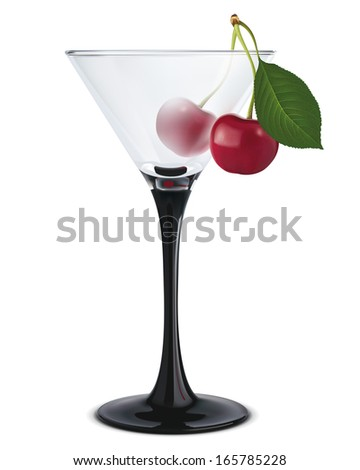 Cocktail with cherry. Illustration