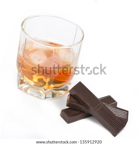 Cocktail with chocolate isolated