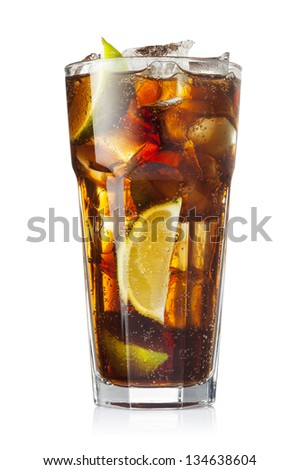 Cocktail with cola and limes slices isolated on white background