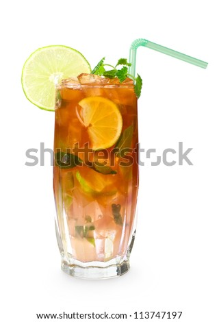 Cocktail with cola, ice, mint and lime. Glass of cold iced tea isolated on white