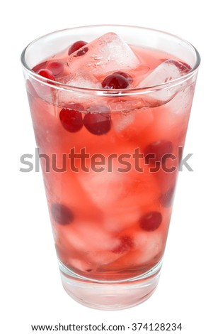Cocktail with cranberry juice and ice cubes on white background. - stock photo