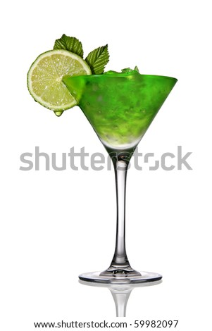 Cocktail with crushed ice and lime - stock photo