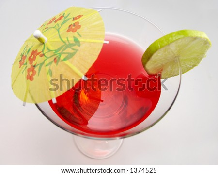 Cocktail with drink in focus