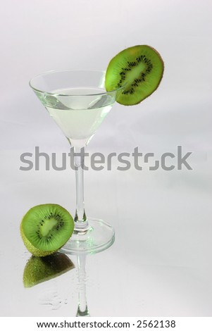cocktail with green kiwi and grape