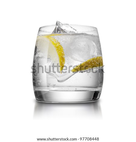 Cocktail with ice and lemon isolated on white background - stock photo
