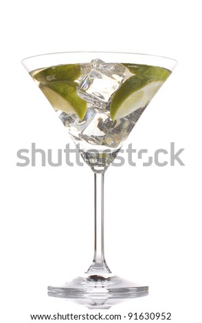 cocktail with ice, lemon and green lime isolated on white