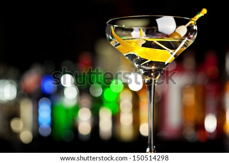 Cocktail with Lemon - stock photo