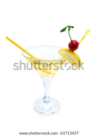 cocktail with lemon and cherry with clipping path - stock photo