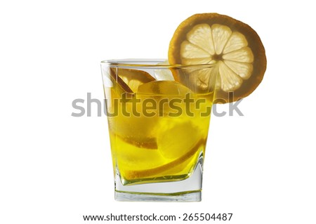 Cocktail with lemon and ice. Isolated on white background