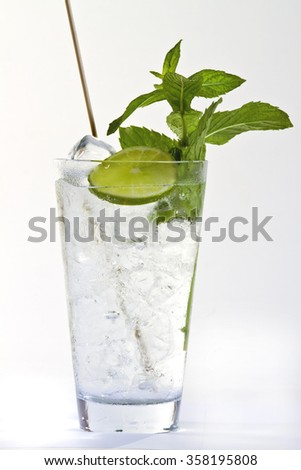 cocktail with lemon and mint leaves. healthy drink on white background