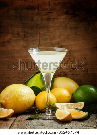 Cocktail with lemon, lime, soda and vodka in a martini glass, selective focus